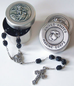 saint michael Marine Corps rosary box with rosary beads
