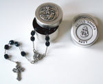 saint michael Navy rosary box with rosary beads