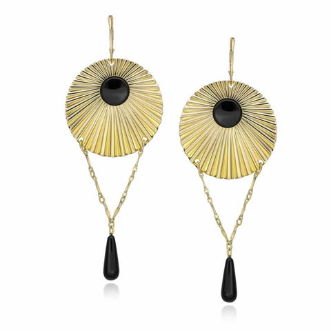 14k Gold Dipped Stunning Starburst Fluted Disc Earrings with Genuine Onyx Stone and Beads