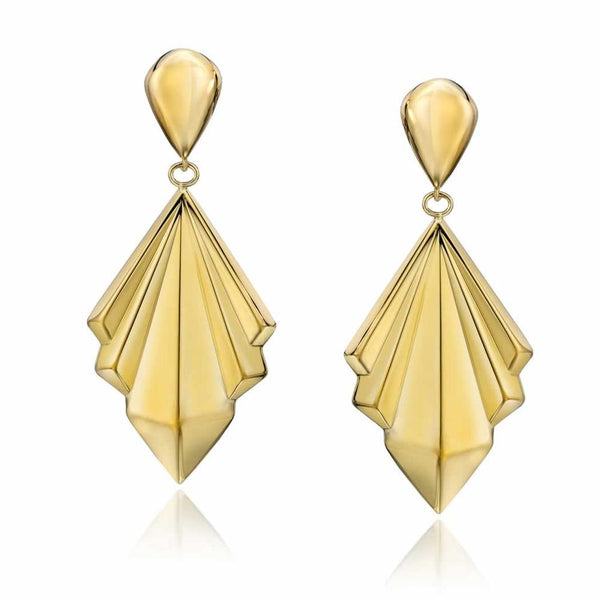 14k Gold Dipped Tailored Geometric Drop Earrings