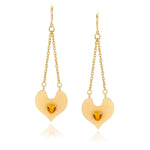 14k Gold Dipped Heart Trapeze Drop Earrings with Genuine Citrine Heart Shape Stone