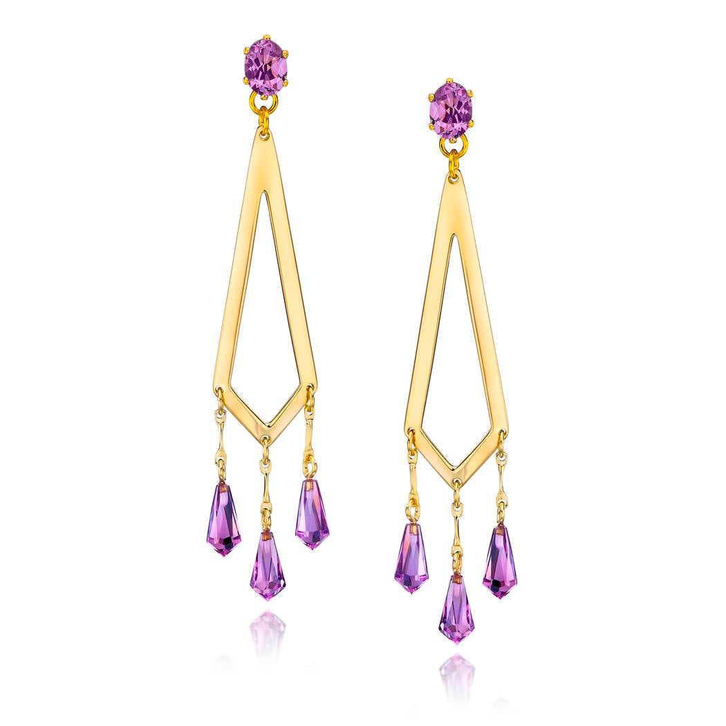 14k Gold Dipped Stunning Drop Earrings with Genuine Amethyst Faceted Stone and Briolette Bead Drops