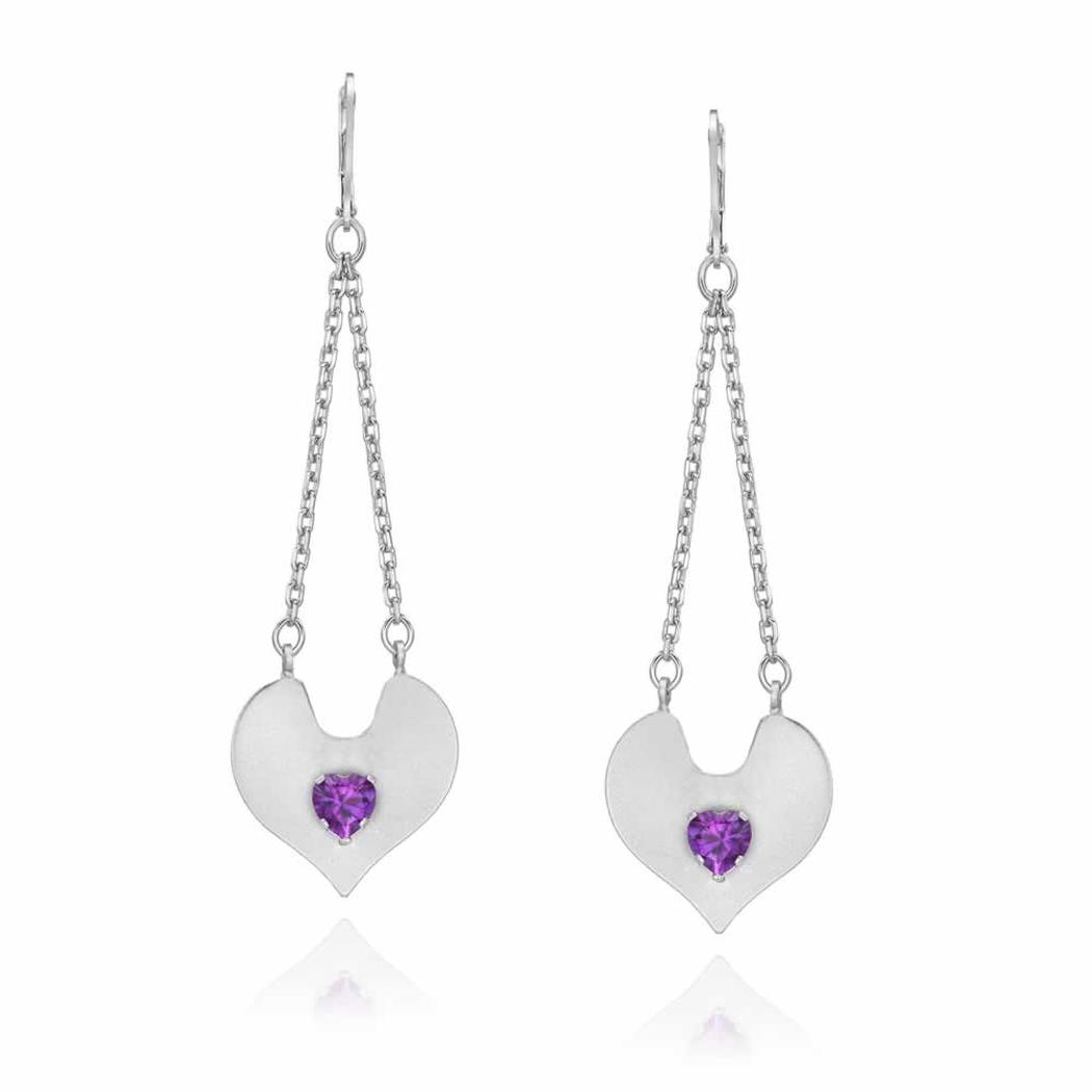Sterling Silver Trapeze Heart Drop Earrings with Genuine Amethyst Heart Shape Stone