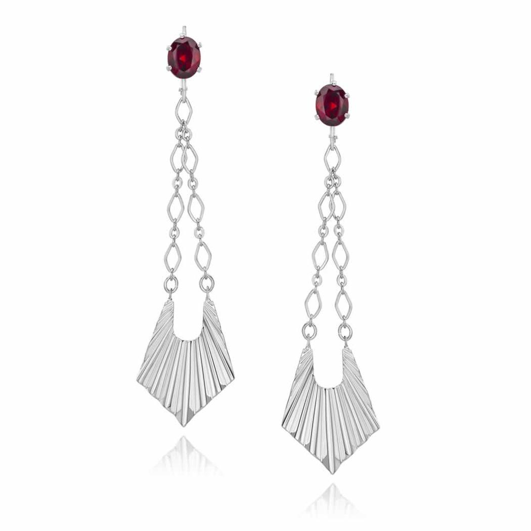 Sterling Silver Trapeze Drop Earrings with Genuine Garnet Faceted Stones and Fine Chain