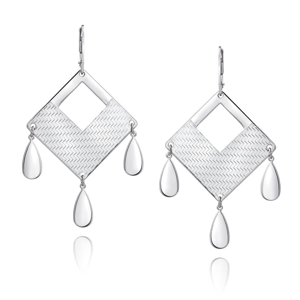 Sterling Silver Engraved Geometric Pattern Chandelier Drop Earrings