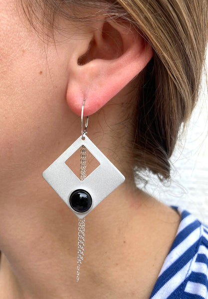 Sterling Silver Drop Earrings with Genuine Onyx Stones and Fine Chain