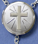 embossed cross locket rosary beads