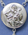 embossed saint christopher locket rosary beads