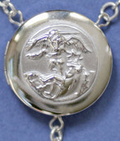 embossed saint michael locket rosary beads