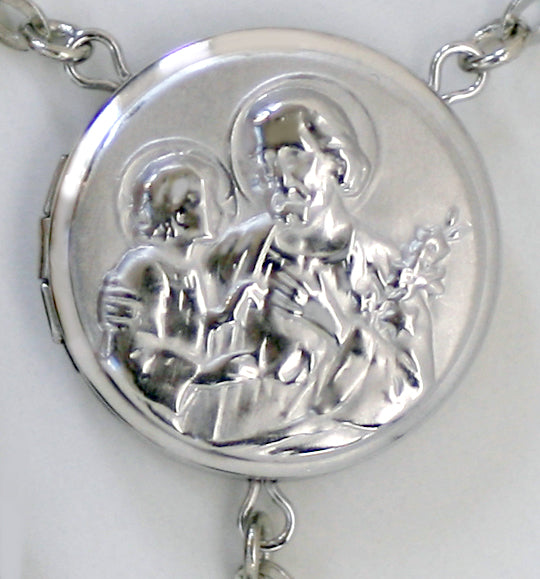 saint joseph locket center rosary beads