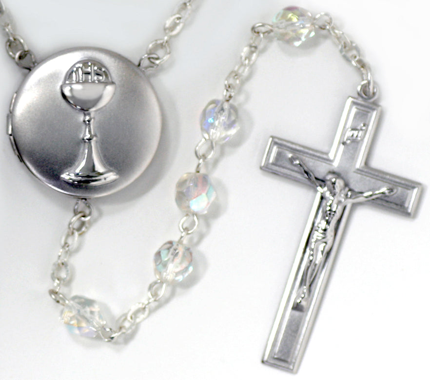 Communion Chalice Locket Rosary Beads