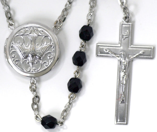 embossed holy spirit locket rosary beads