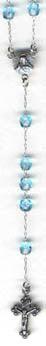 "RS-104 11"" Czech Glass AQUAMARINE Rosary Beads"