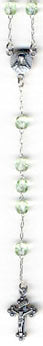 "RS-109 11"" Czech Glass PERIDOT Rosary Beads"