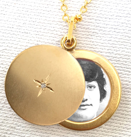 My North Star with Diamond Round Slide Locket Necklace