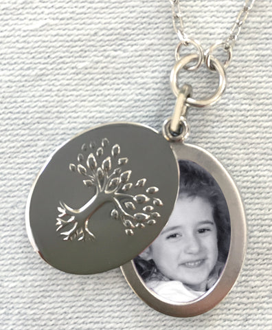 Tree of Life Oval Slide Locket Necklace