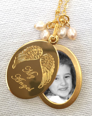 My Angel Oval Slide Locket Necklace