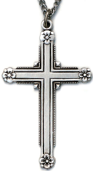 Sterling Silver Cross with Flowers