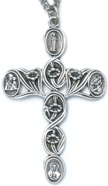 Sterling Silver 4 Way Lily Cross