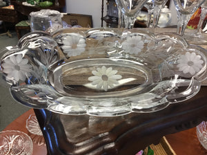 Etched Crystal Serving Dish