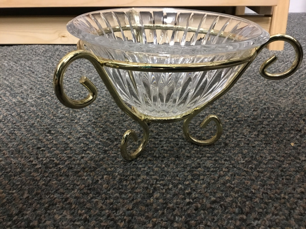 Glass Bowl with Gold Holder
