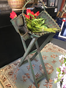 Elegant tulip and rose basket with stand