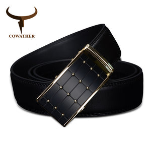 COWATHER 2017 high quality cow genuine fashion leather men`s belts for men strap automatic buckle cinto masculino110-130cm long