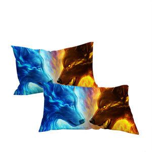 Fire and Ice by JoJoesArt Pillowcase Blue and Yellow Pillow Case wolf wolves Bedding Home Textiles Microfiber Pillow Cover 2pcs