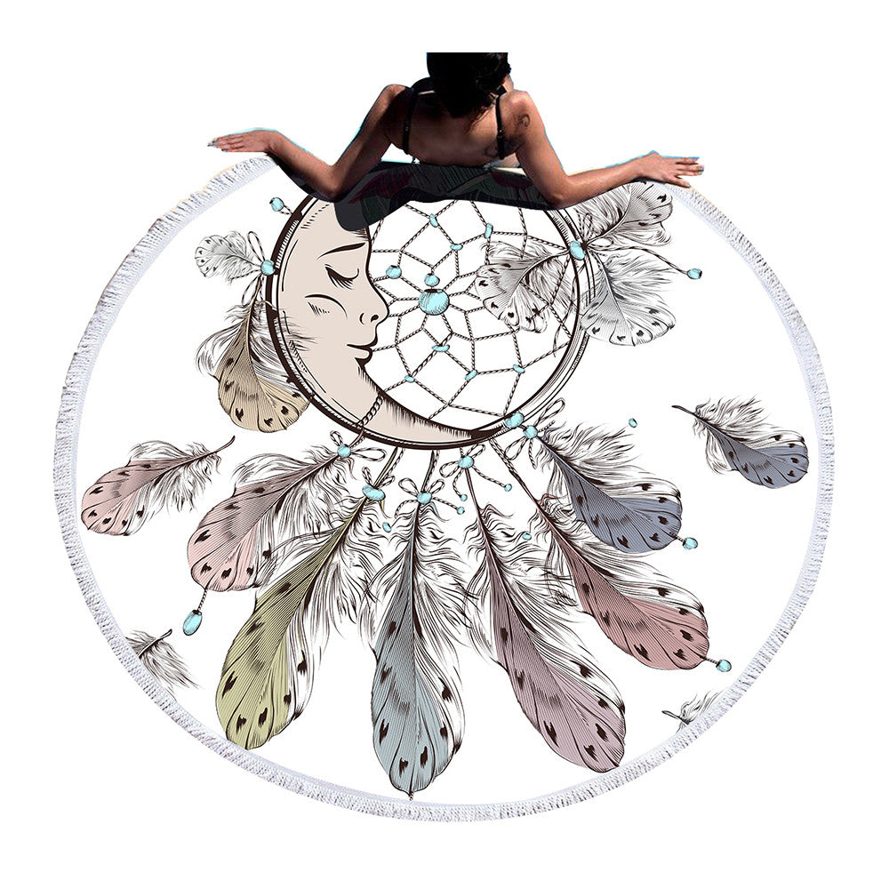BeddingOutlet Moon and Dreamcatcher Tassel Mandala Tapestry Bohemian Round Beach Towel Toalla Blanket Yoga Mat
