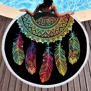 BeddingOutlet Colorful Dreamcatcher Tassel Mandala Tapestry Black Round Beach Towel Toalla Sunblock Blanket Yoga Mat