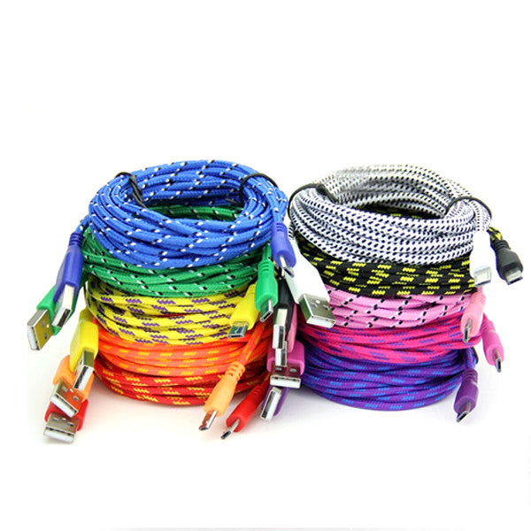 Extra Long (10 Ft) Fiber Cloth Sync & Charge USB Android Cable - Assorted Colors