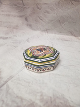 Ceramic box, octagonal, hand painted