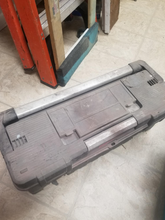 Gray plastic toolbox, with misc STUFF