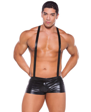 Zeus Wet Look Suspender Shorts Black O-s