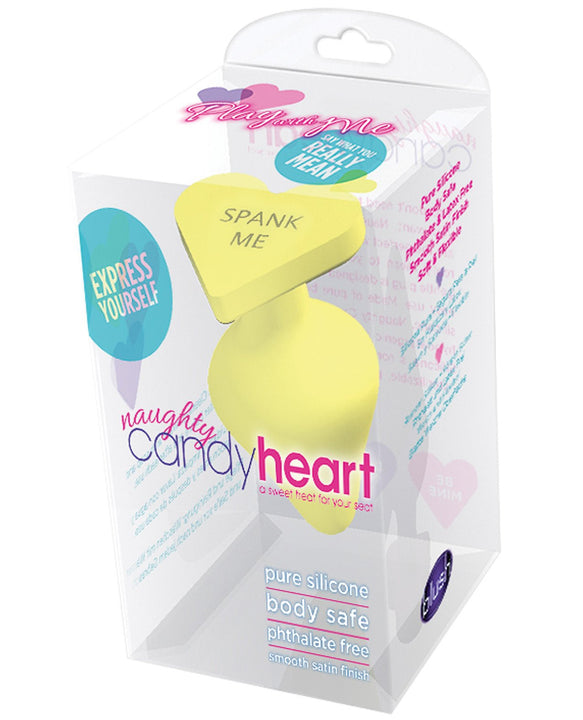 Blush Play With Me Naughty Candy Heart Spank Me Plug - Yellow