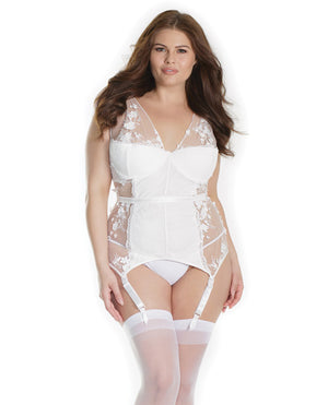 Lightly Padded Underwire Cup Bustier W-3d Floral Details & Removable-adjustable Garters White 1x-