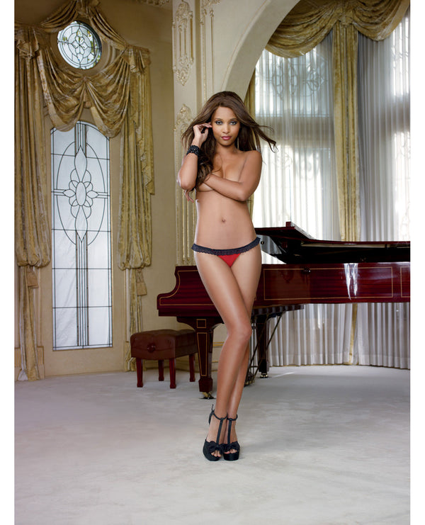Stretch Mesh W-spandex & Stretch Lace Open Back Panty Black-red Md