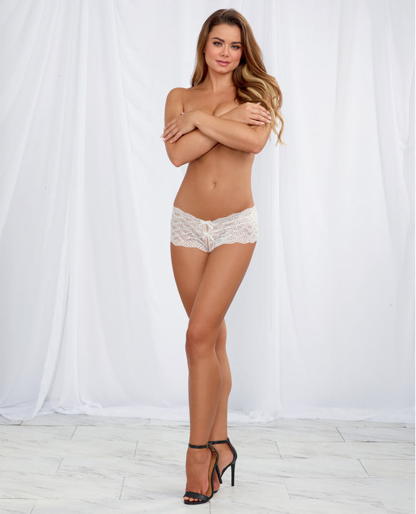 Heart Stretch Lace Panty W-open Crotch White Md