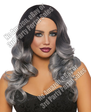 Long Wavy Ombre Wig - Black-gray