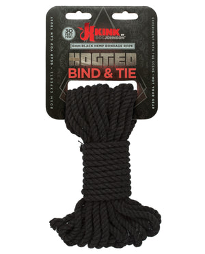 Kink Bind & Tie Hemp Bondage Rope - 30 Ft - Black