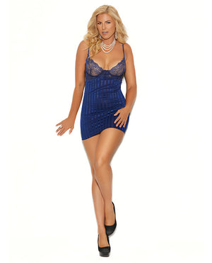 Striped Satin & Mesh Underwire Babydoll W-adjustable Straps & G-string Midnight Blue 1x