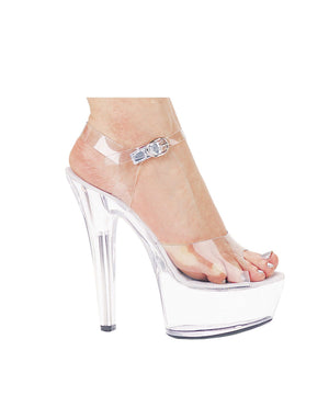 "Ellie Shoes Brook 6"" Pump 2"" Platform Clear Six"