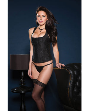 Brocade Racerback Corset W-hook & Eye Closure, Adjustable Lace-up Back & G-string Black 32
