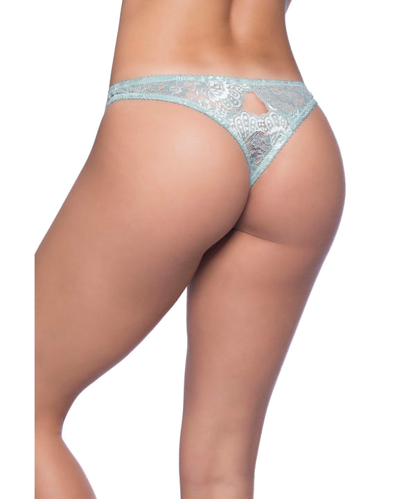 Josilyn Lace Thong W-scalloped Edge Keyholes Dusty Turquoise 2x