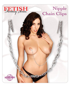 Fetish Fantasy Series Nipple Chain Clamps - Silver