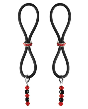 Bijoux De Nip Nipple Halos Red Gem Slider - Red-black