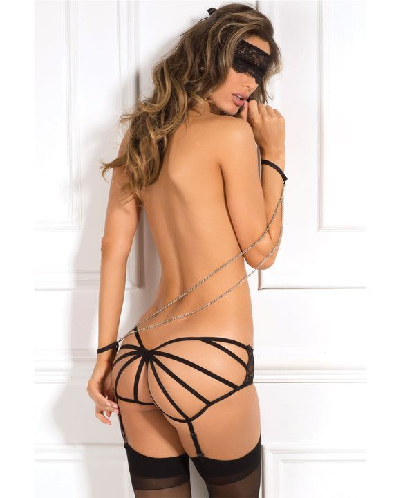 Rene Rofe Crotchless Panty, Mask & Chain Cuffs Black S-m