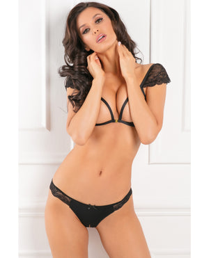 Rene Rofe Show Off 2pc Open Bra Set Black M-l