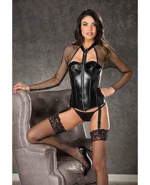 Fishnet & Faux Leather Corset W-zipper Front, Garters & G-string Black 38