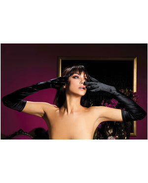 Satin Opera Length Gloves Black O-s